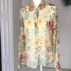 Moschino Sheer Floral Button Front Top size 8